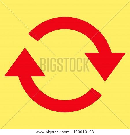 Refresh vector pictogram. Image style is flat refresh icon symbol drawn with red color on a yellow background.