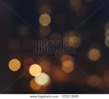 Out of focus big city lights bokeh in night time