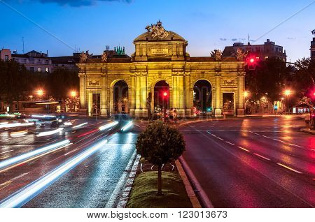 Night view of The Puerta de Alcala in Madrid