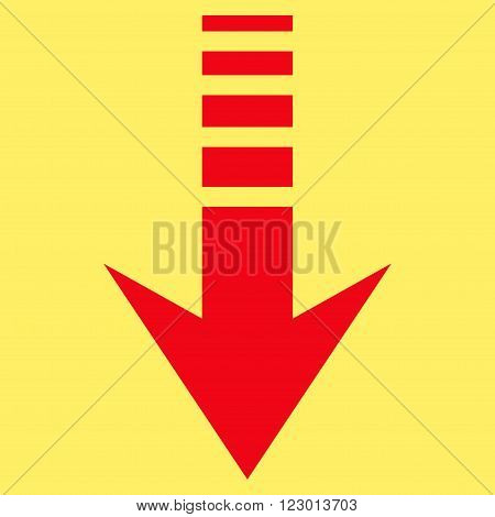 Send Down vector icon. Image style is flat send down iconic symbol drawn with red color on a yellow background.