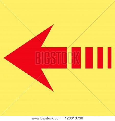 Send Left vector pictogram. Image style is flat send left iconic symbol drawn with red color on a yellow background.
