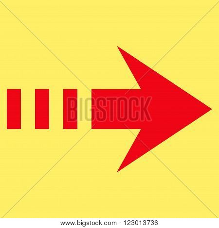 Send Right vector pictogram. Image style is flat send right iconic symbol drawn with red color on a yellow background.