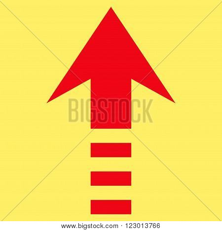 Send Up vector icon. Image style is flat send up iconic symbol drawn with red color on a yellow background.