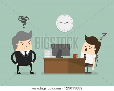 Exhausted businessman falling asleep at his office desk