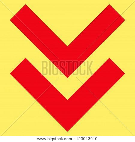 Shift Down vector pictogram. Image style is flat shift down iconic symbol drawn with red color on a yellow background.