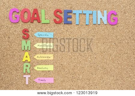 Words goal setting and smart with copy space smart goal and success concept for personal and business