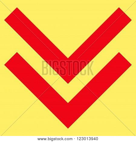 Shift Down vector icon. Image style is flat shift down iconic symbol drawn with red color on a yellow background.