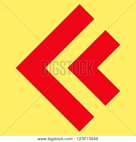Shift Left vector icon. Image style is flat shift left iconic symbol drawn with red color on a yellow background.
