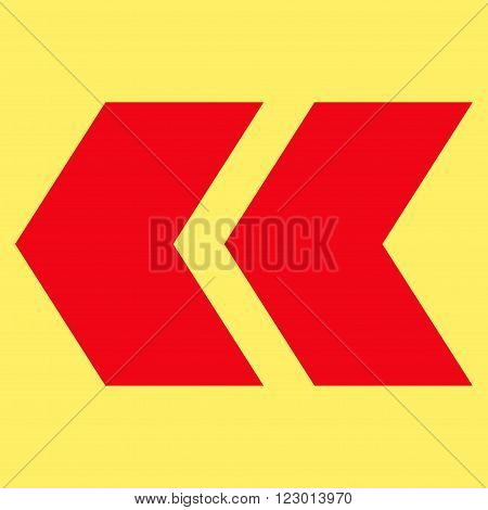 Shift Left vector pictogram. Image style is flat shift left iconic symbol drawn with red color on a yellow background.