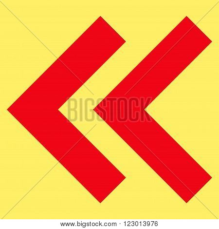 Shift Left vector symbol. Image style is flat shift left pictogram symbol drawn with red color on a yellow background.