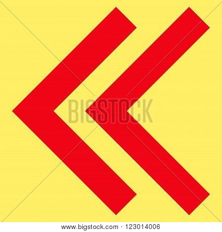 Shift Left vector symbol. Image style is flat shift left icon symbol drawn with red color on a yellow background.