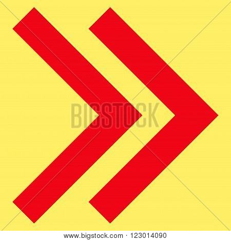 Shift Right vector symbol. Image style is flat shift right pictogram symbol drawn with red color on a yellow background.