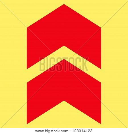Shift Up vector icon symbol. Image style is flat shift up iconic symbol drawn with red color on a yellow background.