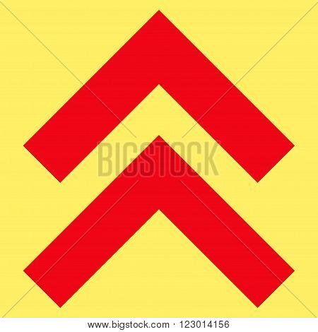 Shift Up vector pictogram. Image style is flat shift up iconic symbol drawn with red color on a yellow background.