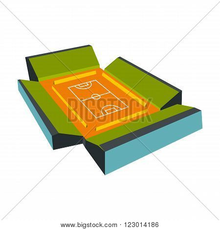Open soccer field with 4 fan tribunes icon in flat style isolated on white background