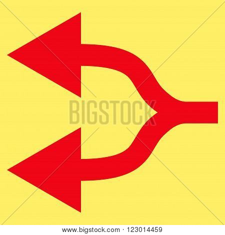 Split Arrows Left vector icon. Image style is flat split arrows left iconic symbol drawn with red color on a yellow background.