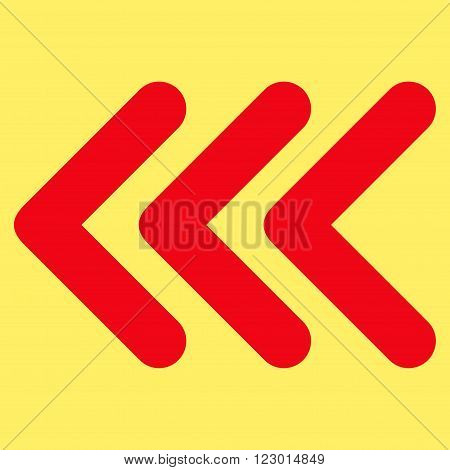 Triple Arrowhead Left vector pictogram. Image style is flat triple arrowhead left pictogram symbol drawn with red color on a yellow background.