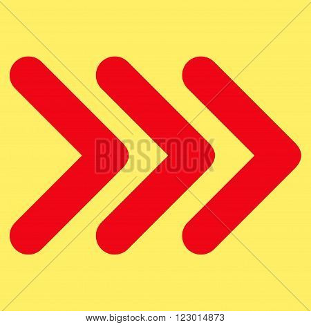 Triple Arrowhead Right vector icon symbol. Image style is flat triple arrowhead right icon symbol drawn with red color on a yellow background.