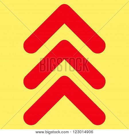 Triple Arrowhead Up vector pictogram. Image style is flat triple arrowhead up iconic symbol drawn with red color on a yellow background.