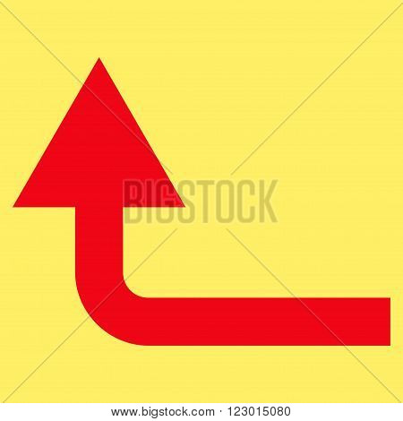 Turn Forward vector pictogram. Image style is flat turn forward pictogram symbol drawn with red color on a yellow background.