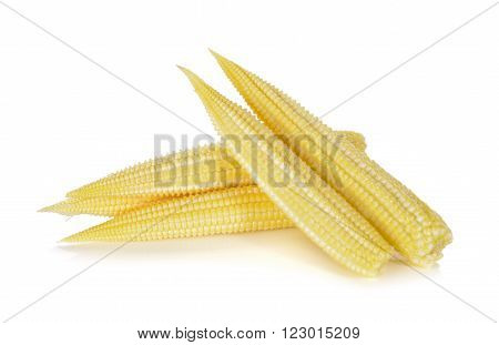 uncooked baby corn isolated on white background
