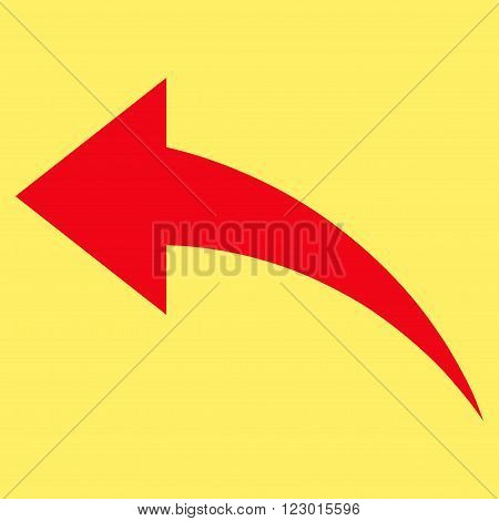 Undo vector symbol. Image style is flat undo iconic symbol drawn with red color on a yellow background.