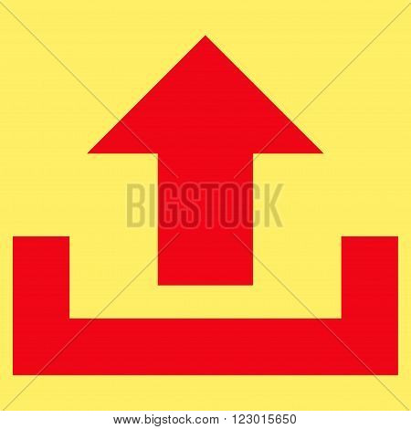 Upload vector icon. Image style is flat upload iconic symbol drawn with red color on a yellow background.