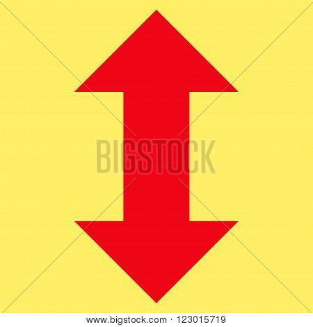 Vertical Exchange Arrows vector pictogram. Image style is flat vertical exchange arrows icon symbol drawn with red color on a yellow background.