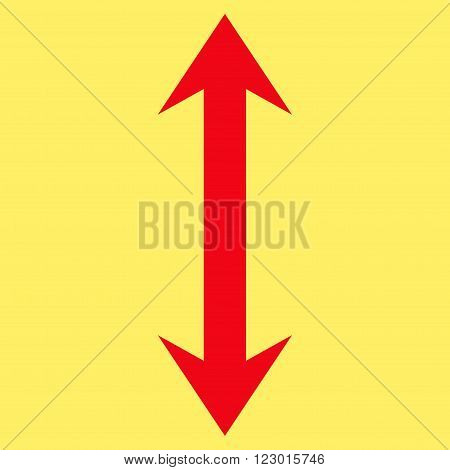Vertical Flip vector pictogram. Image style is flat vertical flip iconic symbol drawn with red color on a yellow background.
