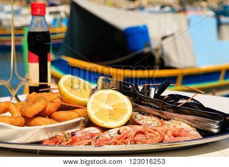 Seafood platter served in mediterranean restaurant at sea
