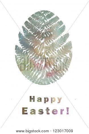Happy Easter greeting card. Illustration with stylized floral Easter egg. Illustration for greeting cards invitations and other printing projects.