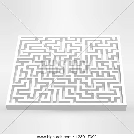 Maze labyrinth puzzle white on grey background. 3D Vector. EPS vector illustration