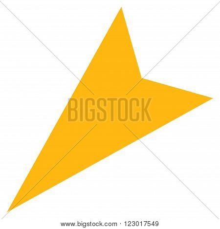 Arrowhead Left-Down vector pictogram. Image style is flat arrowhead left-down icon symbol drawn with yellow color on a white background.