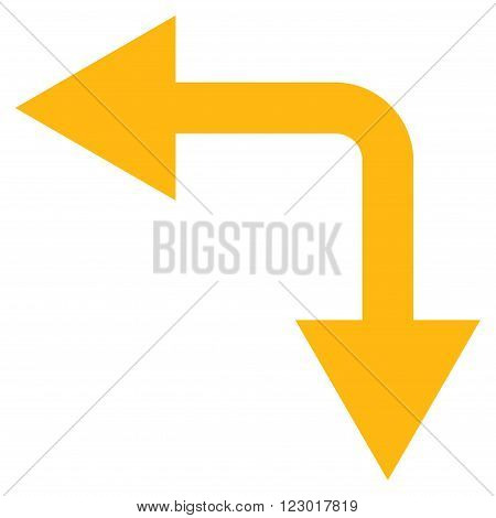 Bifurcation Arrow Left Down vector icon. Image style is flat bifurcation arrow left down iconic symbol drawn with yellow color on a white background.