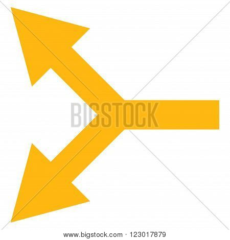 Bifurcation Arrow Left vector symbol. Image style is flat bifurcation arrow left iconic symbol drawn with yellow color on a white background.