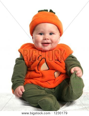 Baby In Pumpkin Outfit