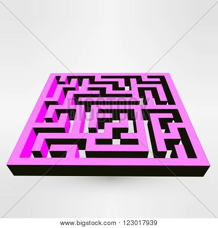 Maze labyrinth puzzle pink on grey background. 3D Vector. EPS vector illustration