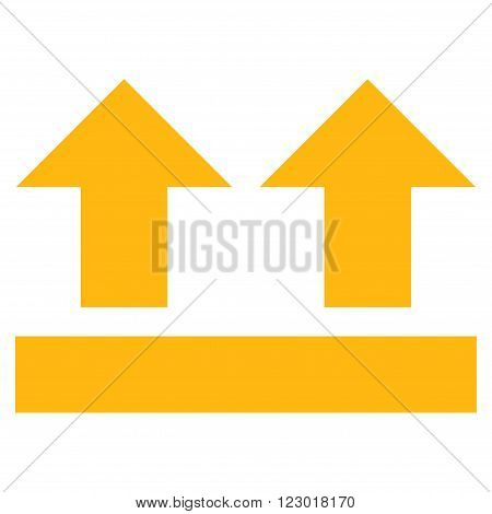 Bring Up vector icon symbol. Image style is flat bring up pictogram symbol drawn with yellow color on a white background.