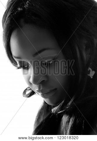 Portrait of a beautiful young African woman. Monochrome photo.