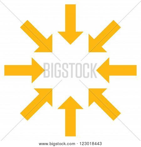 Collapse Arrows vector symbol. Image style is flat collapse arrows pictogram symbol drawn with yellow color on a white background.