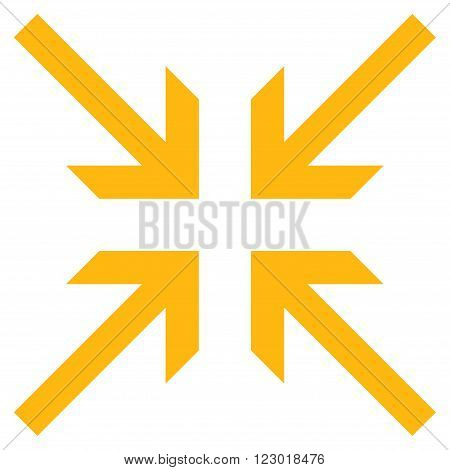 Collide Arrows vector icon. Image style is flat collide arrows pictogram symbol drawn with yellow color on a white background.
