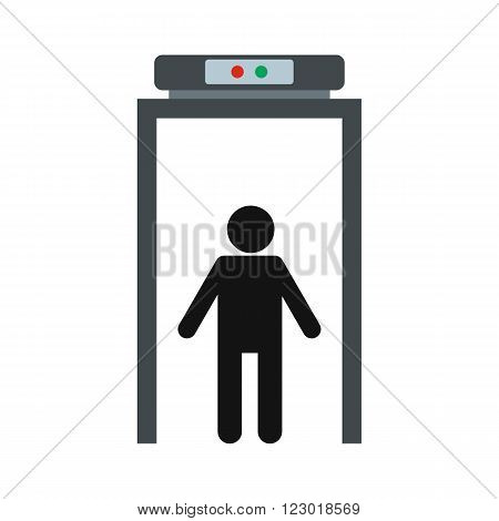 Metal detector icon in flat style isolated on white background