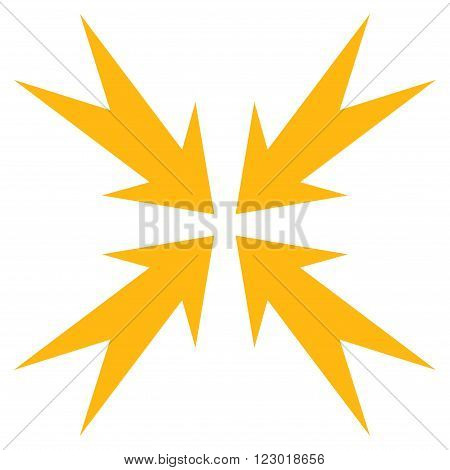Compression Arrows vector icon symbol. Image style is flat compression arrows pictogram symbol drawn with yellow color on a white background.