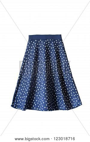 Blue flared knee length skirt with polka dots isolated over white