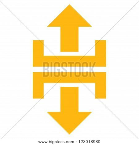 Divide Vertical Direction vector icon. Image style is flat divide vertical direction icon symbol drawn with yellow color on a white background.
