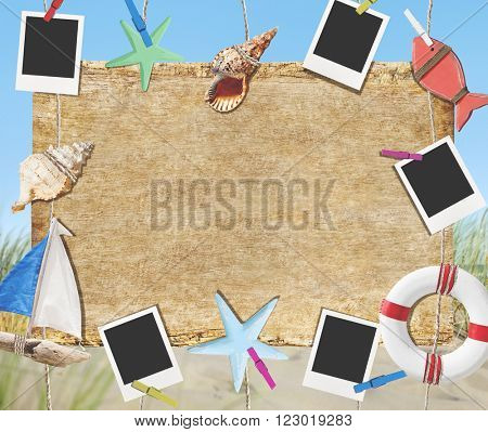 Placard Frame Photo Picture Timber Beach Wooden Concept