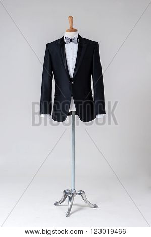 Modern Tuxedo isolated on Grey background. (fashion)