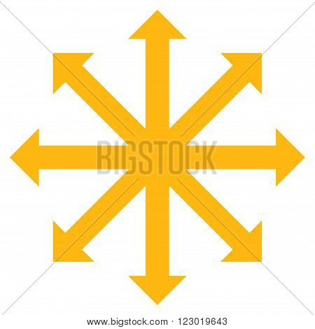 Expand Arrows vector icon. Image style is flat expand arrows icon symbol drawn with yellow color on a white background.