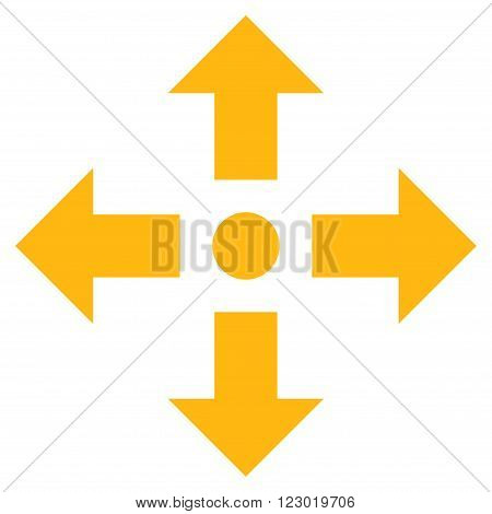 Expand Arrows vector pictogram. Image style is flat expand arrows icon symbol drawn with yellow color on a white background.