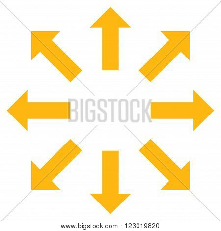 Explode Arrows vector icon symbol. Image style is flat explode arrows pictogram symbol drawn with yellow color on a white background.